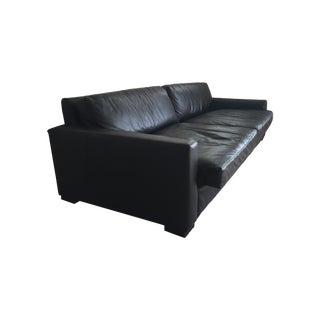 Restoration Hardware Maxwell Black Leather Sofa