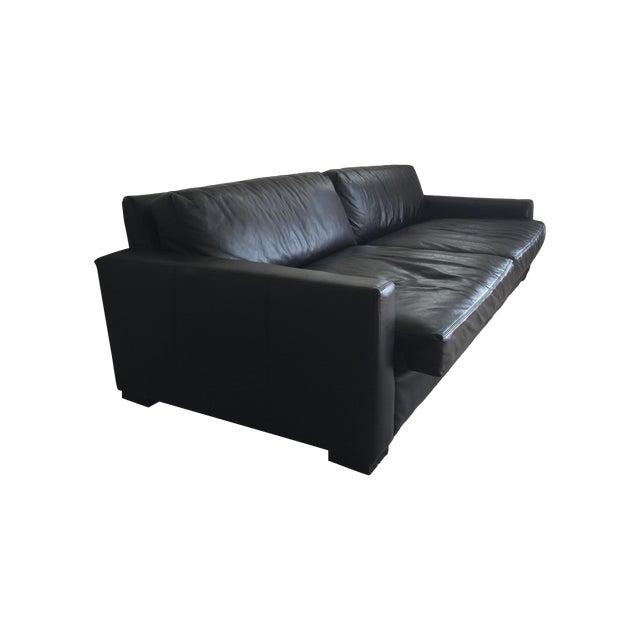 restoration hardware maxwell black leather sofa chairish