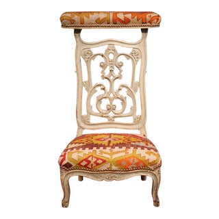 19th Century French Carved and Painted Antique Kilim Prie-Dieu Prayer Chair
