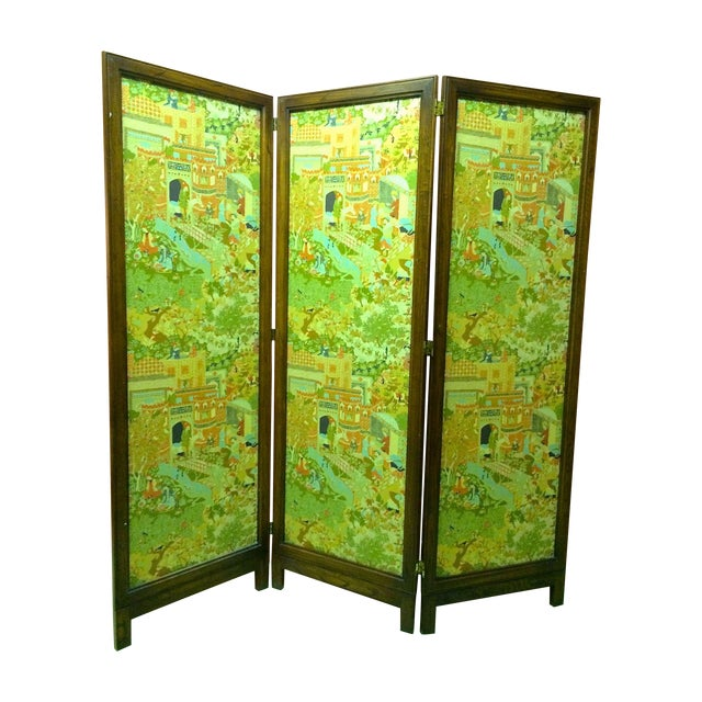 Large Vintage Fabric Room Divider - Image 1 of 6