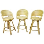Image of Mid-Century Rattan Wicker Barstools - Set of 3
