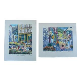 Quebec Street Scene Serigraphs- A Pair