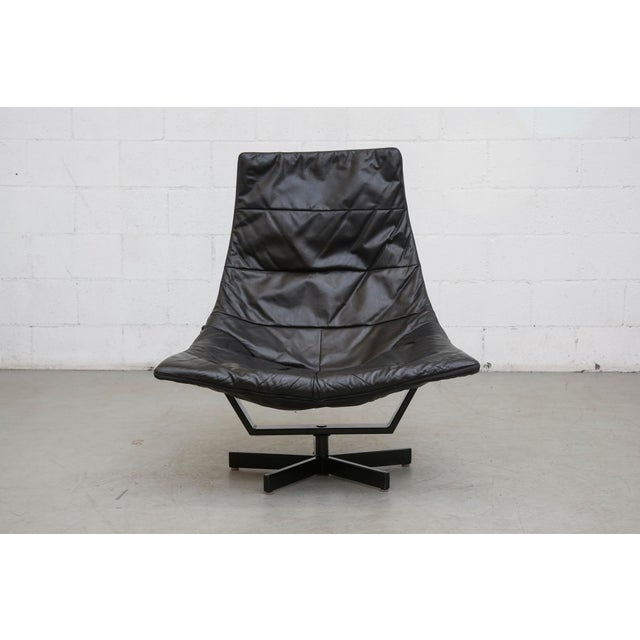 Image of Black Leather Artifort Style Lounge Chair