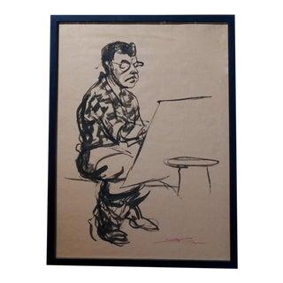 Emil Kosa Jr - Self-portrait - Original 1950s Ink on Paper Painting