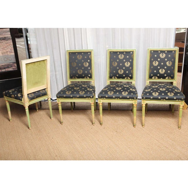 Image of Set of Four Painted Louis XVI style Chairs by Jansen