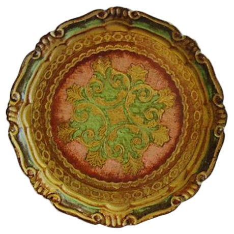 Italian Rose & Green Wood Letter Tray - Image 1 of 6