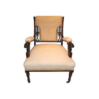 Antique Beige Rosewood Slipper Chair