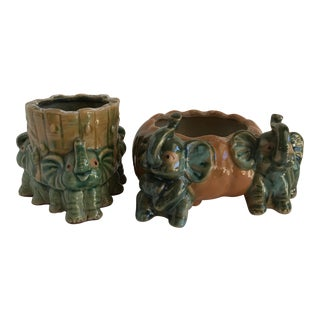 Majolica Style Elephant Plant Pots - A Pair