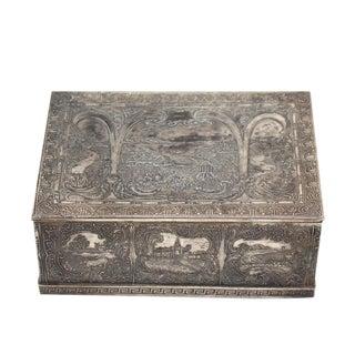 Silvered Dutch Farm Scene Decorated Antique Jewelry Box Tea Caddie Greek Key