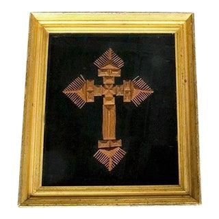 Large Tramp Art Style Framed Cross