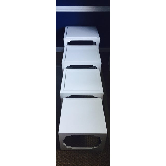 White Lacquered Stacking Cube Tables - Set of 4 - Image 5 of 9