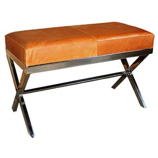 Taylor Burke Modern Medium Vintage Leather X Bench