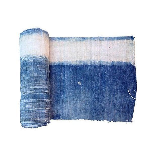 Faded Indigo Batik Textile Fabric - 3.6 Yards - Image 6 of 6
