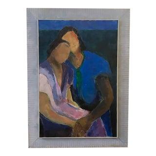 "Large Vintage Painting - ""Consolation"" - Artist S. Binsack"