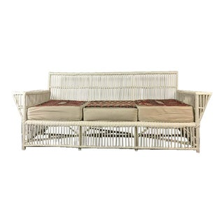 Vintage White Painted Wicker Sofa