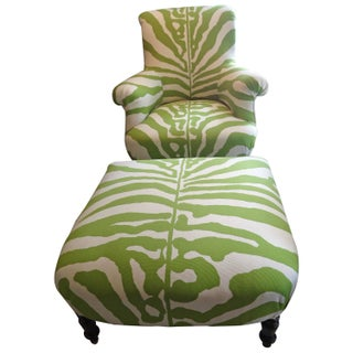 Apartment Sized Granny Apple Green and White Zebra Club Chair