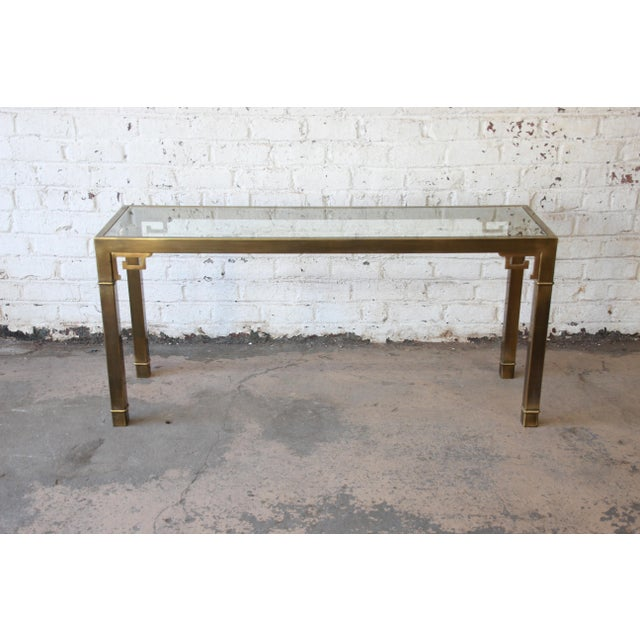 Mastercraft Hollywood Regency Brass and Glass Console Table with Greek Key Motif - Image 4 of 8