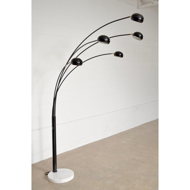 Black Five Arm Arc Floor Lamp With Marble Base Chairish