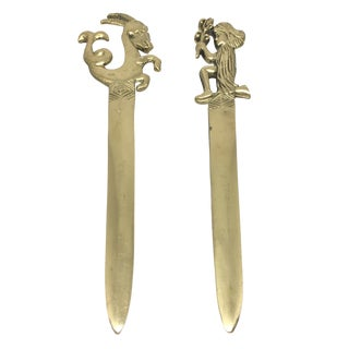 Vintage Brass Zodiac Letter Openers - A Pair
