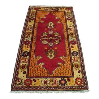 Vintage Turkish Handwoven Kayseri Wool Rug - 2′10″ × 5′7″