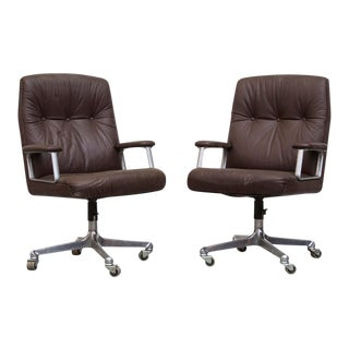 Brown Leather Rolling Office Chairs, Attributed to Osvaldo Borsani for Tecno - A Pair