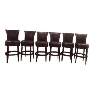 Leather & Birch Swivel Bar Stools - Set of 6
