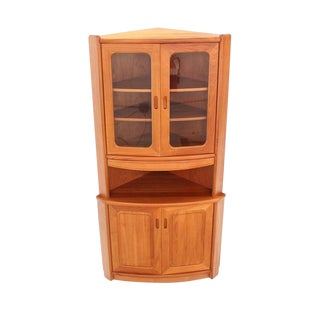 Solid Teak Danish Modern Corner Cabinet