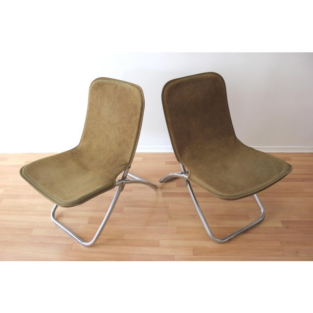 Faux Camel Suede Folding Lounge Chairs - A Pair - Image 2 of 7