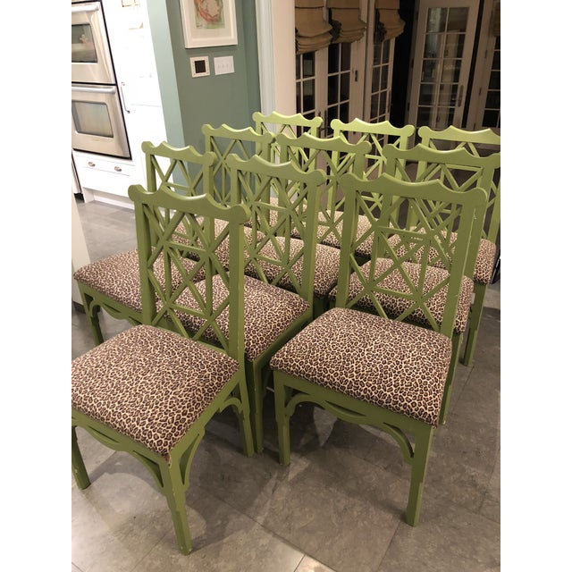 Custom Chinese Chippendale Green Chairs - Set of 10 - Image 3 of 11
