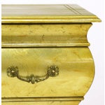 Image of Pair Henredon Gold Toned Silver Leaf Bombe Two-Drawer Commodes