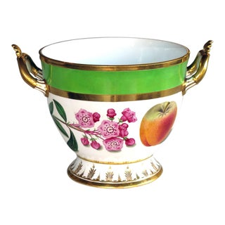 A Good Quality Paris Porcelain Polychromed Double-Handled Cache Pot/Jardiniere