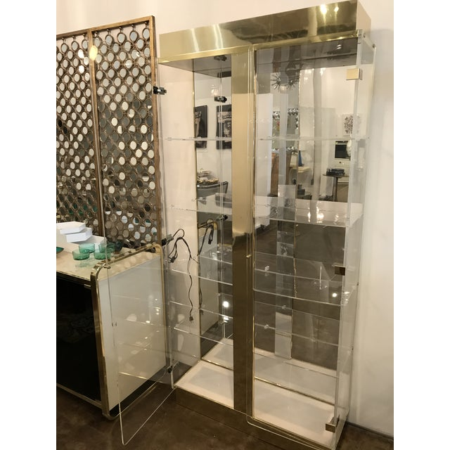 Tall Lucite, Mirror and Gold Tone Metal Cabinet with Upper and Lower Lighting - Image 10 of 10