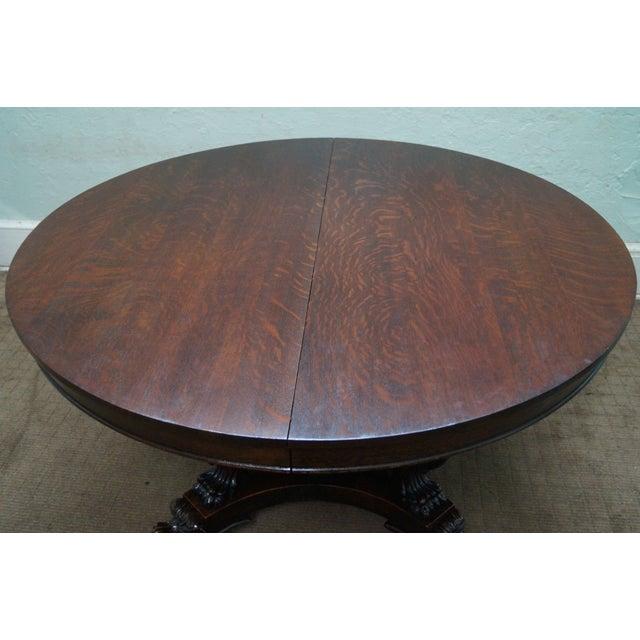 RJ Horner Antique Round Oak Griffin Dining Table - Image 6 of 10