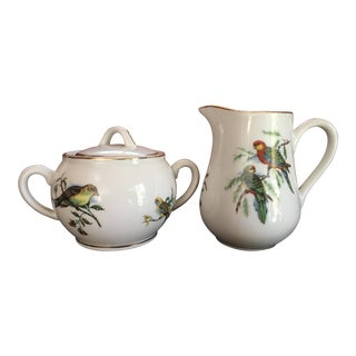 Vintage Pillivuyt Pilivite France French Porcelain Sugar and Creamer With Birds and Berries