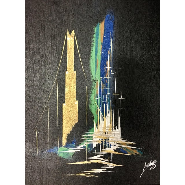 Mid-Century Cityscape Oil Painting - Image 1 of 8