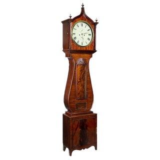 Mahogany Regency Lyre Tall Case Clock with Block & Shell