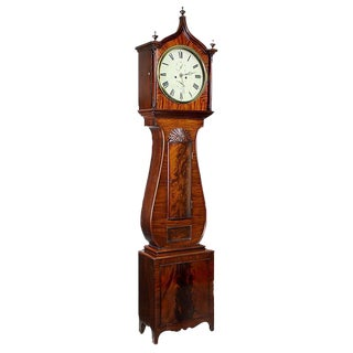 Mahogany Regency Lyre Tall Case Clock with Block & Shell
