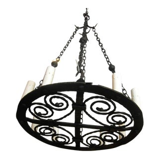 French Wrought Iron 8 Light Chandelier
