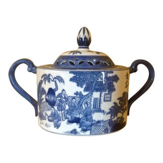 Blue & White Porcelain Potpouri Pot