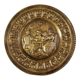 Old English Scene Embossed Brass Plate