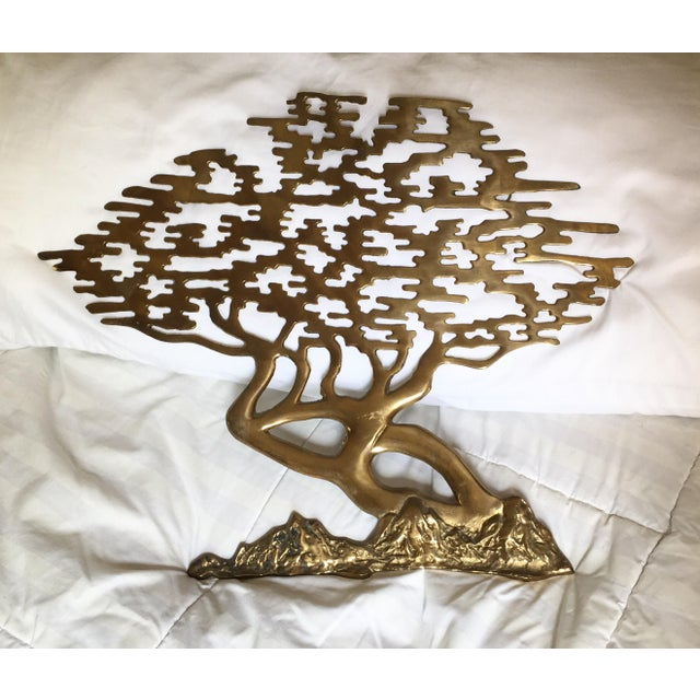 Mid-Century Asian Brass Bonsai Tree - Sculptural Wall Art - Image 2 of 6