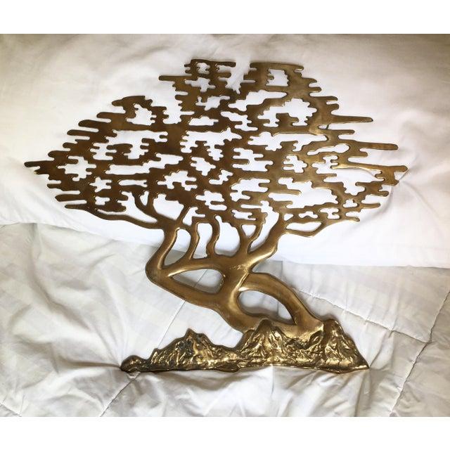 Image of Mid-Century Asian Brass Bonsai Tree - Sculptural Wall Art