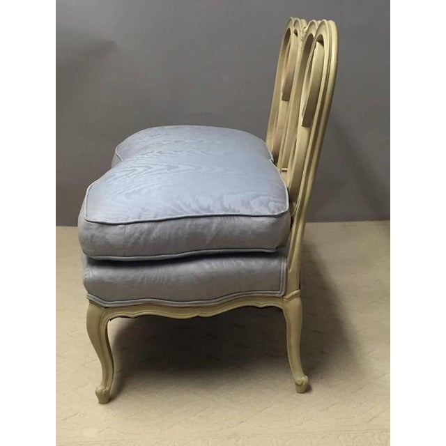 Hollywood Regency Style Painted Wood & Down Cushion Loveseat - Image 4 of 5