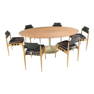Vintage Eero Saarinen Tulip Table and Egon Eiermann Dining Chairs