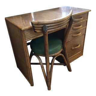 Ficks Reed Junior Rattan Bamboo Desk and Chair