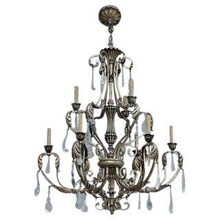 Ornate Silvergilt Iron Chandelier