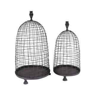 Antique Metal Bird Cage Plant Stands - Pair