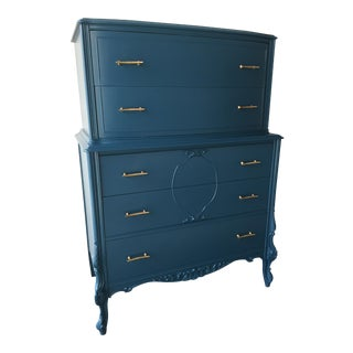 Vintage Turquoise Blue Armoire Dresser