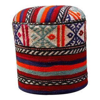 Turkish Kilim Upholstered Ottoman Stool