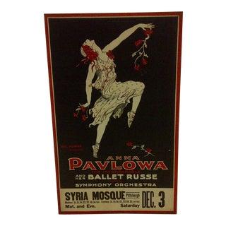 "Vintage Ballet Poster - ""Anna Pavlowa"" and Her ""Ballet Russe"" - Circa 1910"